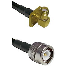 SMA 4 Hole Right Angle Female on RG142 to C Male Cable Assembly