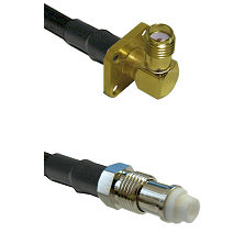 SMA 4 Hole Right Angle Female on RG142 to FME Female Cable Assembly