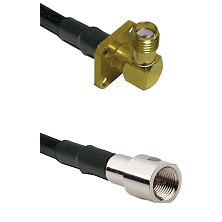 SMA 4 Hole Right Angle Female on RG142 to FME Male Cable Assembly