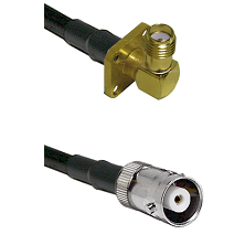 SMA 4 Hole Right Angle Female on RG142 to MHV Female Cable Assembly