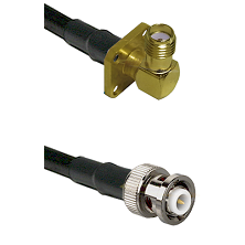 SMA 4 Hole Right Angle Female on RG142 to MHV Male Cable Assembly