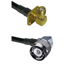 SMA 4 Hole Right Angle Female on RG400 to C Right Angle Male Cable Assembly