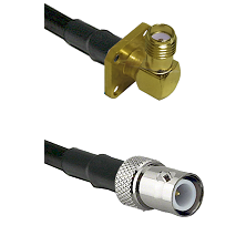 SMA 4 Hole Right Angle Female on RG400 to BNC Reverse Polarity Female Cable Assembly