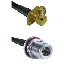 SMA 4 Hole Right Angle Female on RG400 to N Reverse Polarity Female Bulkhead Cable Assembly
