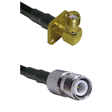 SMA 4 Hole Right Angle Female on RG400 to TNC Reverse Polarity Female Cable Assembly