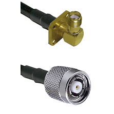 SMA 4 Hole Right Angle Female on RG400 to TNC Reverse Polarity Male Cable Assembly