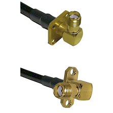 SMA 4 Hole Right Angle Female on RG400 to SMA 2 Hole Right Angle Female Cable Assembly