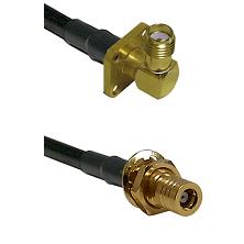 SMA 4 Hole Right Angle Female on RG400 to SLB Female Bulkhead Cable Assembly