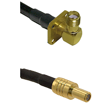 SMA 4 Hole Right Angle Female on RG400 to SLB Male Cable Assembly