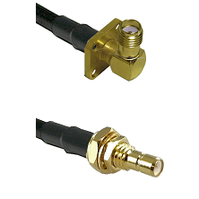 SMA 4 Hole Right Angle Female on RG400 to SMB Male Bulkhead Cable Assembly