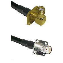 SMA 4 Hole Right Angle Female on RG58C/U to BNC 4 Hole Female Cable Assembly