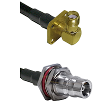 SMA 4 Hole Right Angle Female on RG58C/U to QN Female Bulkhead Cable Assembly