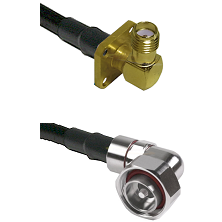 SMA 4 Hole Right Angle Female on RG58C/U to 7/16 Din Right Angle Male Cable Assembly