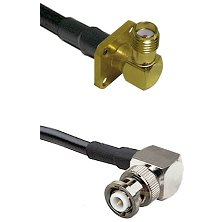 SMA 4 Hole Right Angle Female on RG58C/U to MHV Right Angle Male Cable Assembly