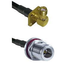 SMA 4 Hole Right Angle Female on RG58C/U to N Reverse Polarity Female Bulkhead Coaxial Cable Assembl