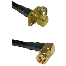 SMA 4 Hole Right Angle Female on RG58 to SMA Reverse Polarity Right Angle Male Coaxial Cable Assembl