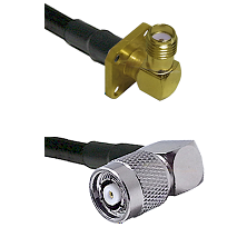 SMA 4 Hole Right Angle Female on RG58C/U to TNC Reverse Polarity Right Angle Male Coaxial Cable Asse