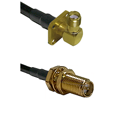 SMA 4 Hole Right Angle Female on RG58C/U to SMA Reverse Polarity Female Bulkhead Coaxial Cable Assem