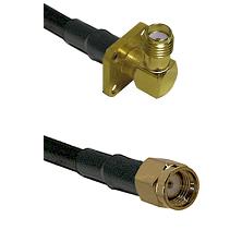 SMA 4 Hole Right Angle Female on RG58C/U to SMA Reverse Polarity Male Cable Assembly