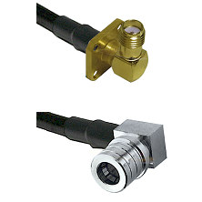 SMA 4 Hole Right Angle Female on RG58C/U to QMA Right Angle Male Cable Assembly