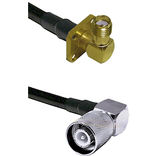 SMA 4 Hole Right Angle Female on RG58 to SC Right Angle Male Cable Assembly