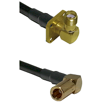 SMA 4 Hole Right Angle Female on RG58C/U to SLB Right Angle Female Cable Assembly