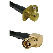 SMA 4 Hole Right Angle Female on RG58C/U to SMB Right Angle Female Cable Assembly