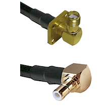 SMA 4 Hole Right Angle Female on RG58C/U to SMB Right Angle Male Cable Assembly