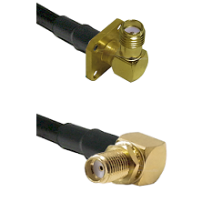 SMA 4 Hole Right Angle Female on RG58 to SMA Reverse Thread Right Angle Female Bulkhead Coaxial Cabl