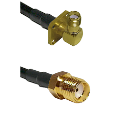 SMA 4 Hole Right Angle Female on RG58 to SMA Reverse Thread Female Cable Assembly