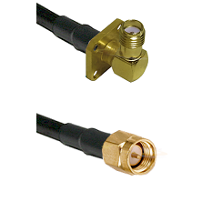 SMA 4 Hole Right Angle Female on RG58C/U to SMA Reverse Thread Male Cable Assembly