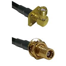 SMA 4 Hole Right Angle Female on RG58C/U to SMB Female Bulkhead Cable Assembly