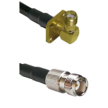 SMA 4 Hole Right Angle Female on RG58C/U to TNC Female Cable Assembly