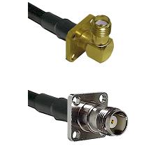 SMA 4 Hole Right Angle Female on RG58C/U to TNC 4 Hole Female Cable Assembly