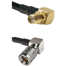 SMA Right Angle Female Bulkhead on LMR-195-UF UltraFlex to 10/23 Right Angle Male Coaxial Cable As