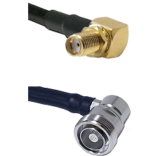 SMA Right Angle Female Bulkhead on LMR-195-UF UltraFlex to 7/16 Din Right Angle Female Coaxial Cable
