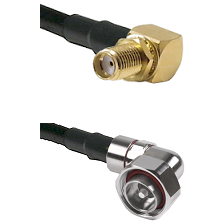 SMA Right Angle Female Bulkhead on LMR-195-UF UltraFlex to 7/16 Din Right Angle Male Coaxial Cable A