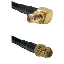 SMA Right Angle Female Bulkhead on LMR-195-UF UltraFlex to SMA Reverse Polarity Female Coaxial Cable