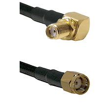 SMA Right Angle Female Bulkhead on LMR-195-UF UltraFlex to SMA Reverse Polarity Male Coaxial Cable A