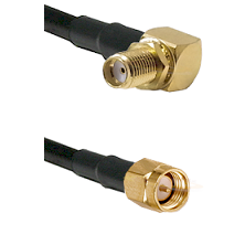 SMA Right Angle Female Bulkhead on LMR-195-UF UltraFlex to SMA Reverse Thread Male Coaxial Cable Ass