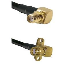 SMA Right Angle Female Bulkhead on LMR240 Ultra Flex to SMA 2 Hole Right Angle Female Coaxial Cable