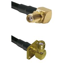 SMA Right Angle Female Bulkhead on LMR240 Ultra Flex to SMA 4 Hole Right Angle Female Coaxial Cable