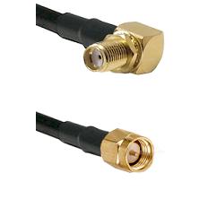 SMA Right Angle Female Bulkhead on LMR240 Ultra Flex to SMA Reverse Thread Male Coaxial Cable Assemb