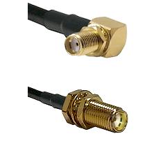 SMA Right Angle Female Bulkhead on LMR240 Ultra Flex to SMA Female Bulkhead Cable Assembly