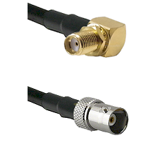 SMA Right Angle Female Bulkhead on RG142 to BNC Female Cable Assembly