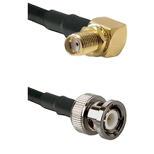 SMA Right Angle Female Bulkhead on RG142 to BNC Male Cable Assembly