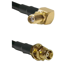 SMA Right Angle Female Bulkhead on RG142 to MCX Female Bulkhead Cable Assembly