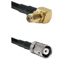 SMA Right Angle Female Bulkhead on RG142 to MHV Female Cable Assembly