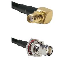 SMA Right Angle Female Bulkhead on RG58C/U to BNC Female Bulkhead Cable Assembly