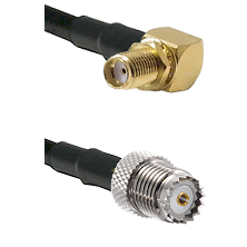 SMA Right Angle Female Bulkhead on RG58 to Mini-UHF Female Cable Assembly